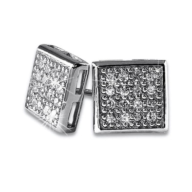 Box 32 Stones CZ Micro Pave Earrings .925 Silver
