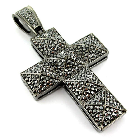 Pyramid Cross Hematite Black Pendant