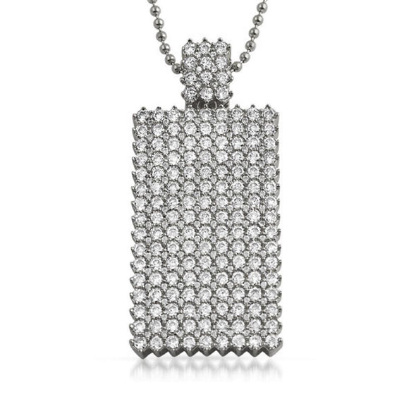 Dog Tag CZ Icey Pendant Rhodium