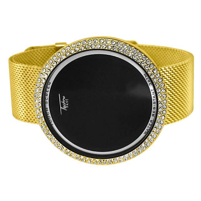 Gold Mesh Band Round LED Touch Screen Watch