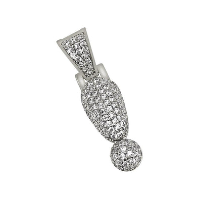 ! Exclamation Point Symbol Rhodium CZ Bling Bling Pendant