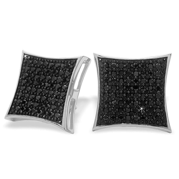 XXL Kite Black CZ Micro Pave Iced Out Earrings .925 Silver