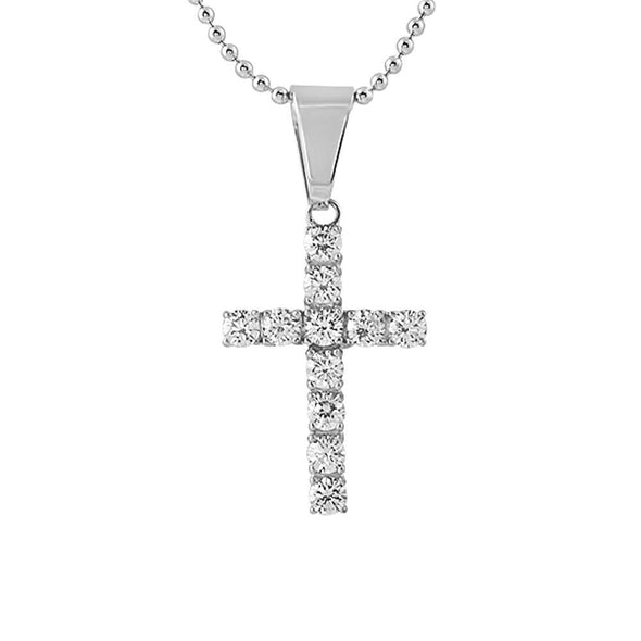 4MM CZ Cross Stainless Steel