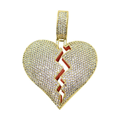 Heart Breaker Gold CZ Bling Bling Pendant