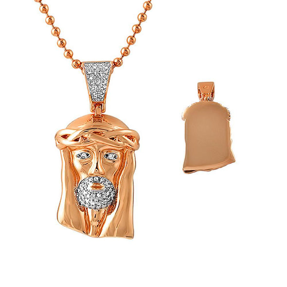 CZ Rose Gold Micro Jesus Chain Polished Solid Back