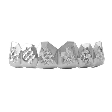 Custom Grillz Rhodium Diamond Cut Top