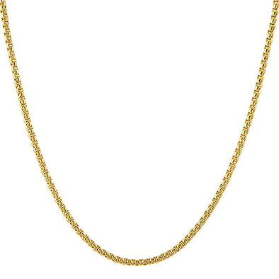 Rounded Box Gold Stainless Steel Mini Chain