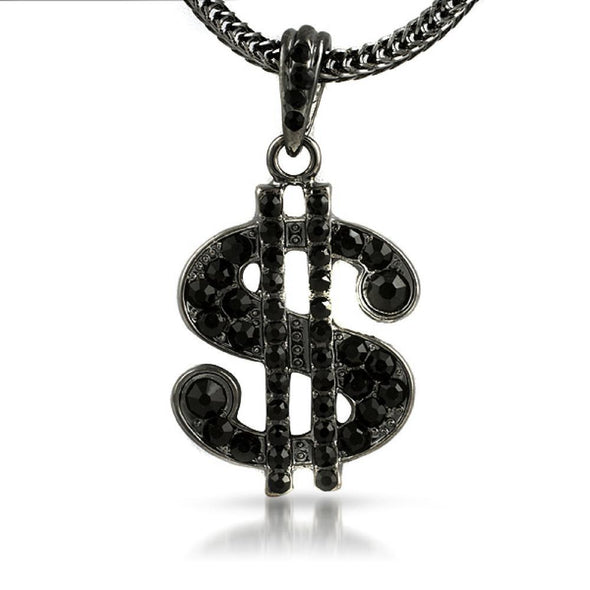 Black Dollar Sign Hip Hop Pendant  Chain Small