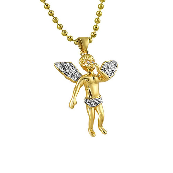 Floating Cherub Angel Gold CZ Pendant Mini