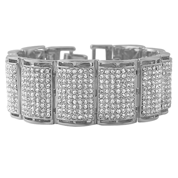 Thick Ice Log Rhodium Bracelet
