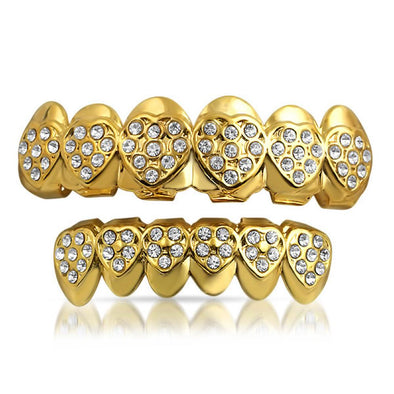Love Heart Gold Grillz Set
