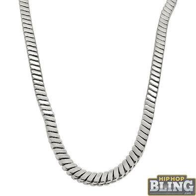 Square Snake Rhodium Hip Hop Chain 5MM