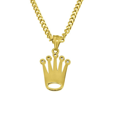 Gold Steel Micro Crown Pendant  Chain