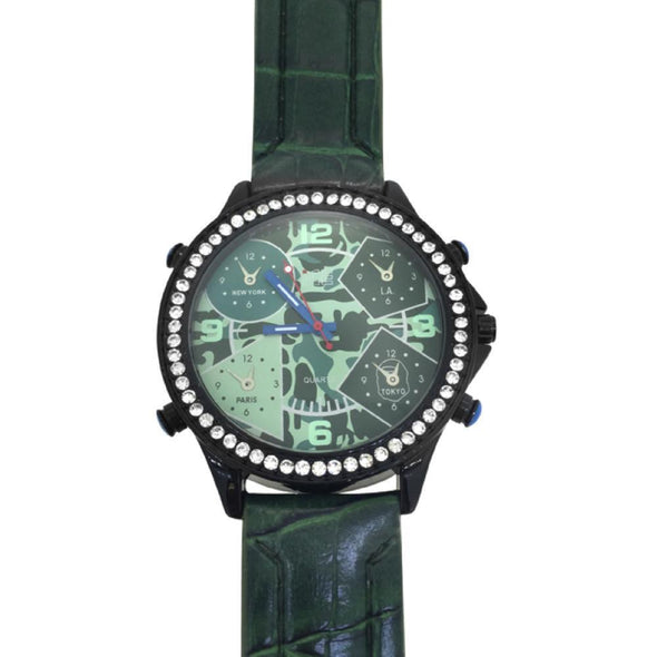 Black Case Green Leather Watch