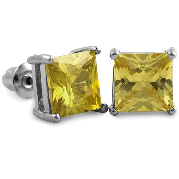 Yellow CZ Diamond Square Stud Earrings Rhodium (DOZEN PAIRS)