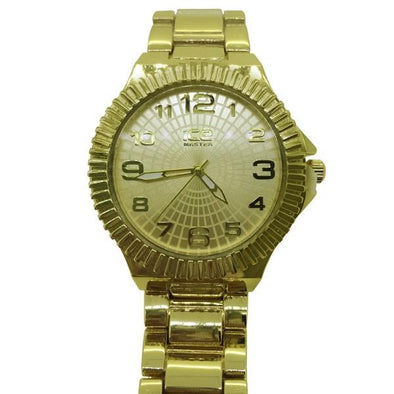 Flutted Bezel Gold Heavy Metal Watch