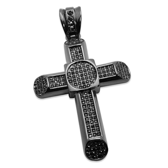 Black Cross Tube Pendant