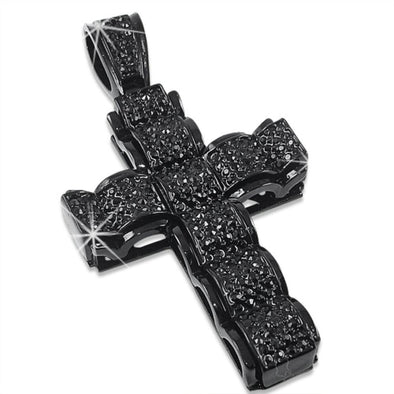 Bubble Cross Jet Black on Black Pendant