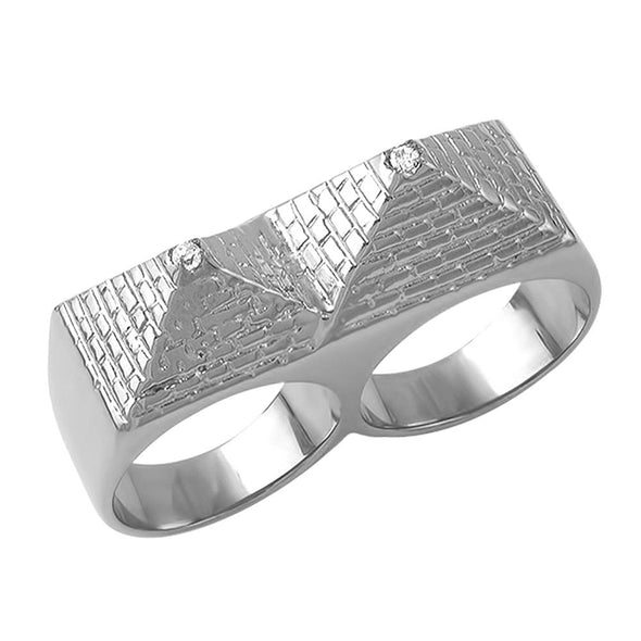 Double Pyramid Stainless Steel CZ Ring