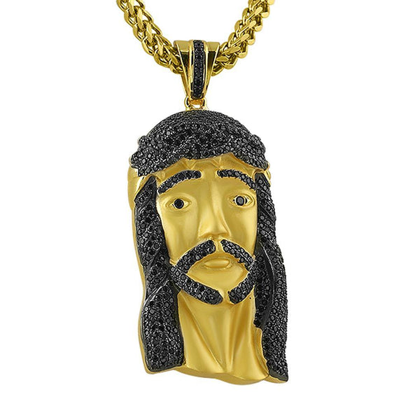 Gold .925 Silver Large Jesus Piece Black Stones