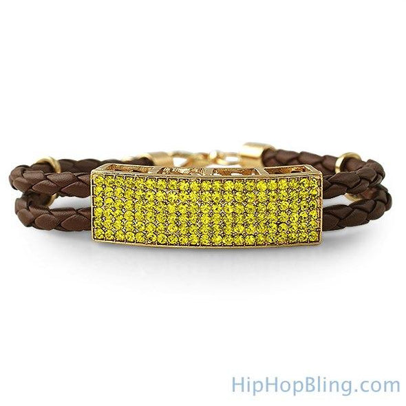 Dual Strand Woven Leather Canary ID Bracelet