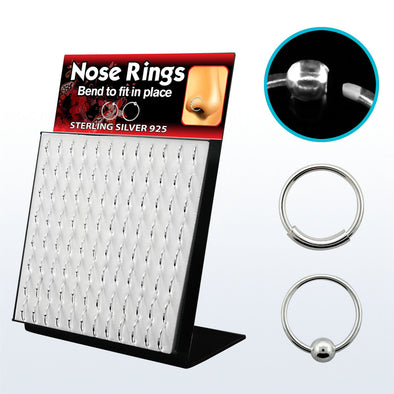 96pc .925 Sterling Silver Nose Hoops - Body Jewelry