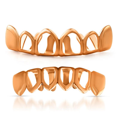 Rose Gold 4 Open Tooth Grillz Set