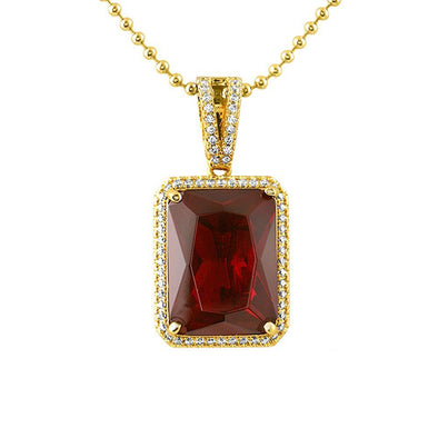 Large Lab Ruby Rectangle Gem CZ Pendant
