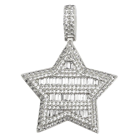 Super Star Baguette CZ Bling Bling Pendant in Gold