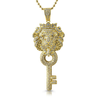 Chinese Lion Key CZ Gold Pendant