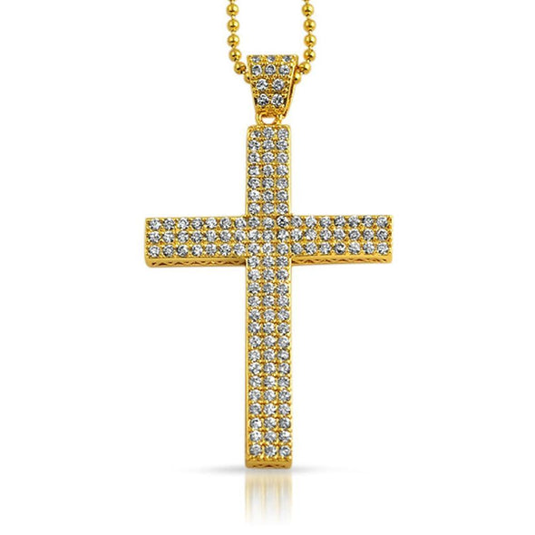 Gold Triple CZ Micro Pave Cross Pendant