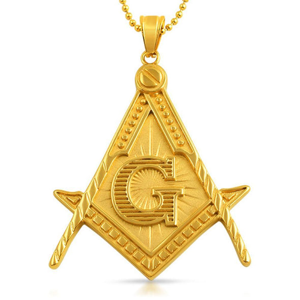 Masonic Pendant Free Mason Large Detailed Gold Steel