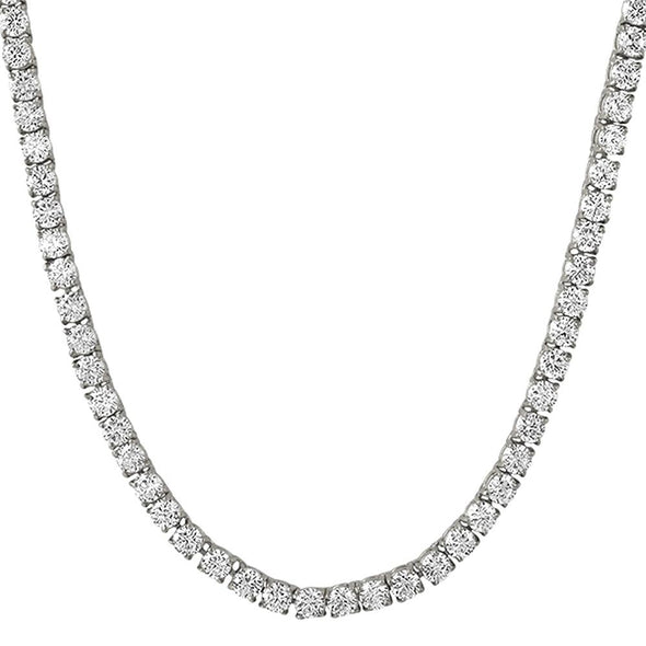 .925 Sterling Silver 4MM CZ Tennis Chain Rhodium