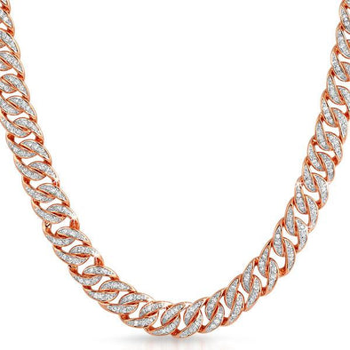 Rose Gold CZ Cuban Bling Bling Chain