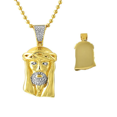Gold Micro Jesus Chain CZ Polished Solid Back