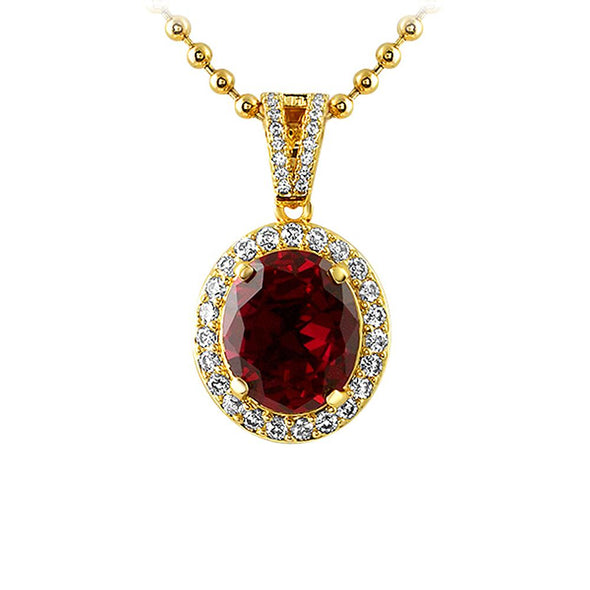 Oval Lab Ruby Gold CZ Pendant