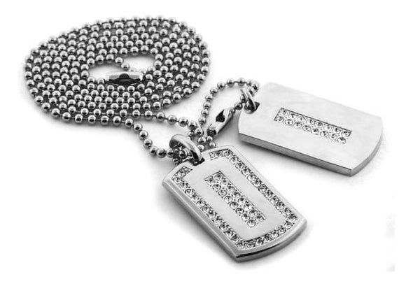 Rhodium Ice Outline Double Dog tag Set
