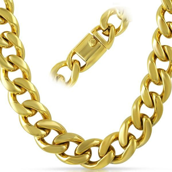18MM Jumbo IP Gold Miami Cuban Chain 316L Box Clasp