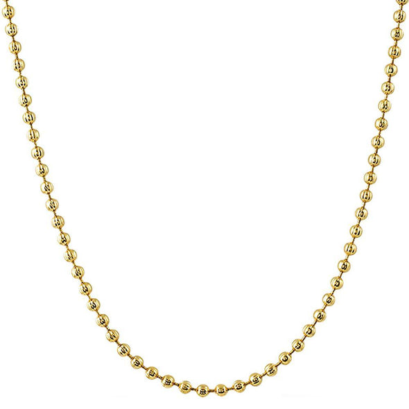 2.5MM Triple Thick Gold Moon Cut Mini Chain
