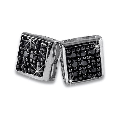 Small Box Black Iced Out Earrings .925 Silver