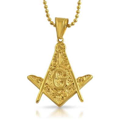 Masonic Detailed Medium Free Mason Pendant Gold Steel