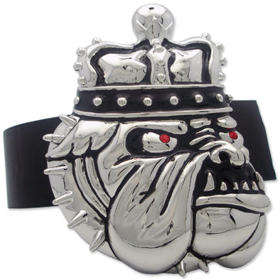 Bulldog Dogs Rule Silver Tone Buckle
