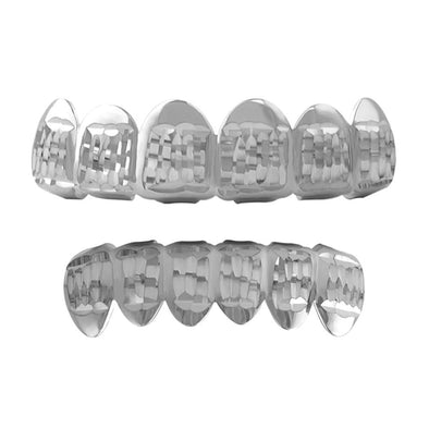 Diamond Cut Grillz Rhodium Classic Set