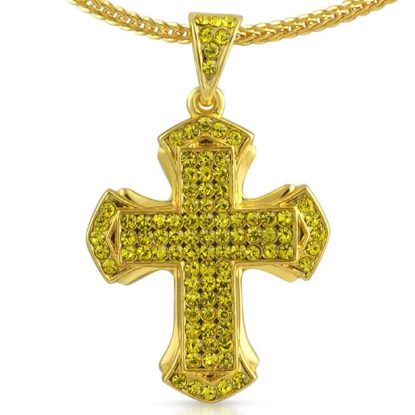 Pointed Lemonade Cross Chain Small