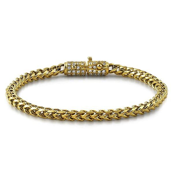 CZ Clasp 4MM Gold Stainless Steel Franco Bracelet