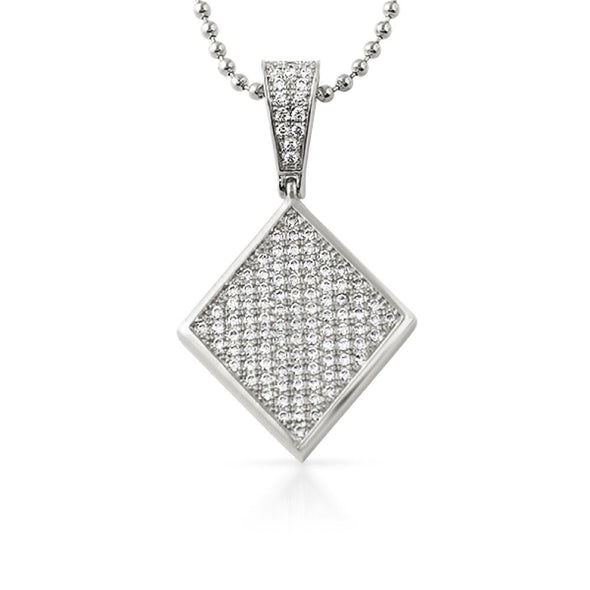 Poker Diamond CZ Rhodium Pendant