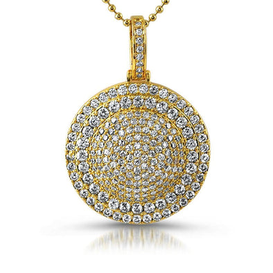 Gold Saturn CZ Circle Pendant
