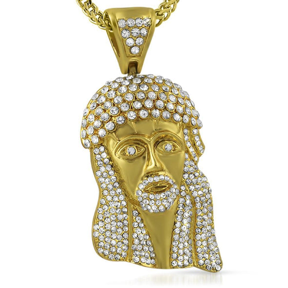 Big Crown Gold Jesus Piece