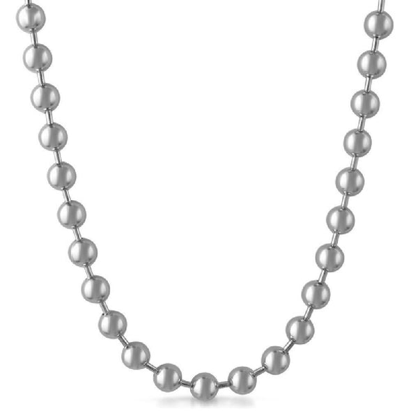 8MM Bead Chain Rhodium Necklace