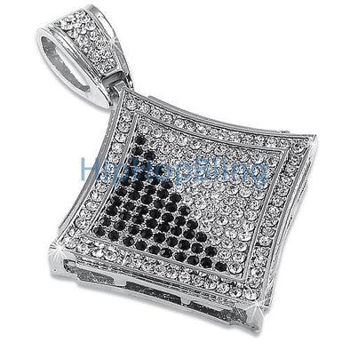 Black & White Diagonal Kite Rhodium Pendant